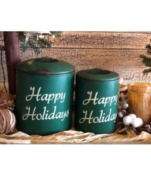 Happy Holidays Canisters (S/2)