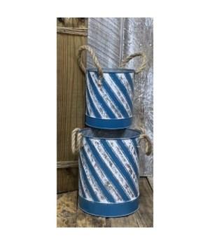 Blue Stripe Beach Buckets (Set