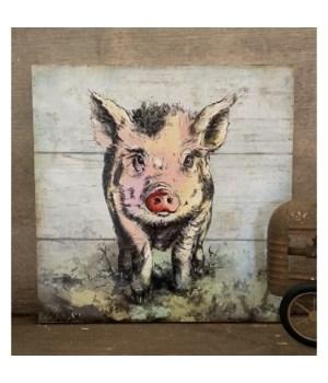 Pig Artwork Box Sign