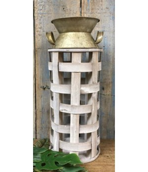 White Washed Bamboo/Metal Milk Can 14 x 6 in.