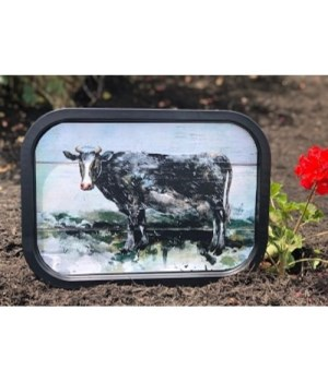 Cow Metal Tray 11.5x16