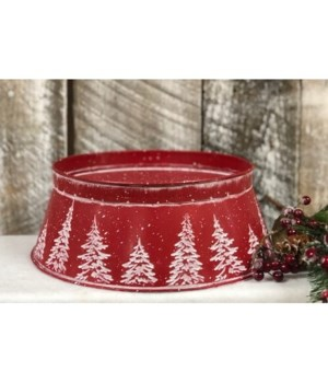 Red Candle Holder w/White Trees