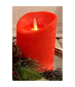 Red LED Pillar Candle 4 in.