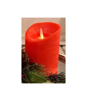 Red LED Pillar Candle 6 in.