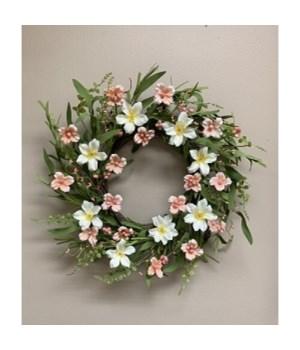 Coral/Cream Wreath 22 in.