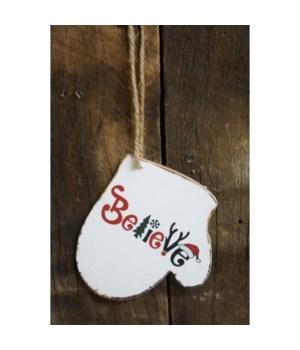 Believe Mitten Ornament