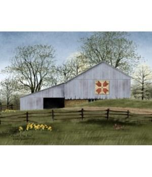 Tulip Quilt Block Barn 12 x 16 in.