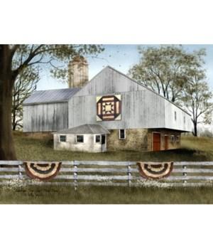 Am Star Quilt Block Barn 12 x 16 in.