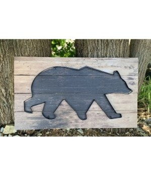 Galvanized Outline Bear Sign