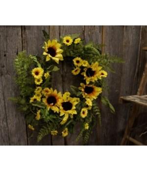 Yellow Sunflower Wreath 22 in.