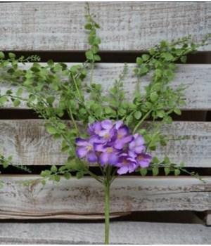 Purple Hydrangea/Fern Pick 16 in.