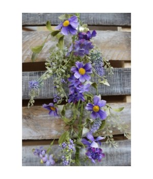 Purple Daisy Mix Garland 60 in.