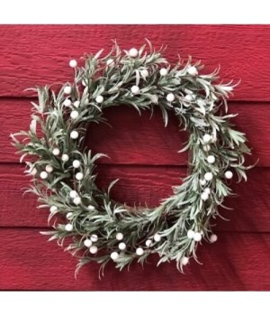 White Berry Frosted Wreath 20 in.