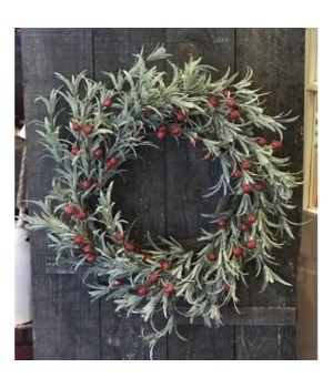 Red Berry Frosted Wreath 20 in.