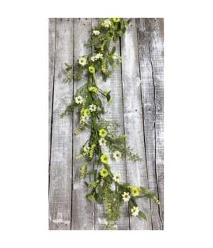 White/Green Daisy Garland 48 in.