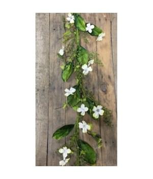 White Dogwood Blossom Garl 48 in.