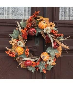 Fall Pumpkin Floral Wreath 20 in.