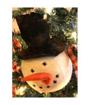 Black Hat Snowman Orn 10.5in