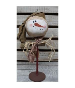 Snowman Head on Stand Lg