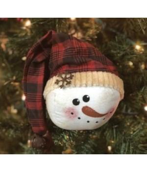 Red Plaid Snowman Head Orn