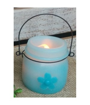 Teal w/Flower LED Candle 3.5 in.
