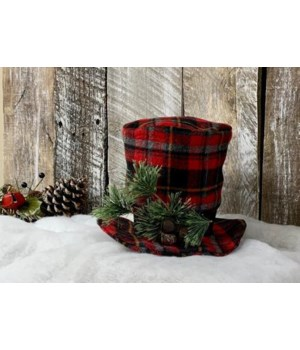 Red Plaid Snowman Hat
