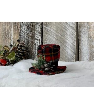 Red Plaid Snowman Hat Small