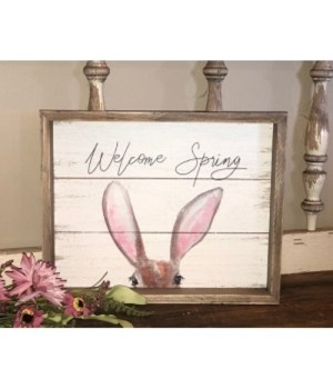 Welcome Spring Bunny Sign 9.5  x  12 in.