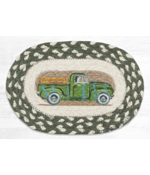 OMSP-338 Vintage Green Truck Printed Oval Swatch 7.5 in.x11 in.