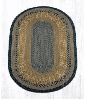 C-99 Brown/Black/Charcoal Oval Braided Rug 3'x5'