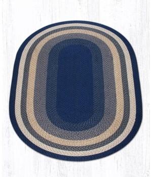 C-79 Lt. Blue/Dk. Blue/Mustard Oval Braided Rug 5'x8'