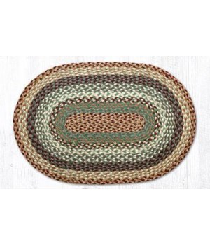 RC-413 Buttermilk/Cranberry Oblong Braided Rug 2'x8'x0.17 in.