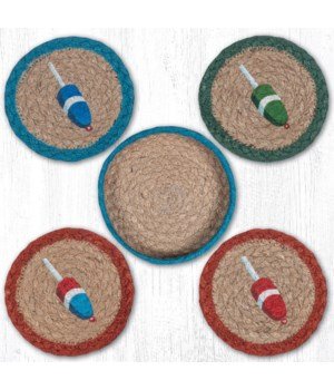 "CNB-702 Lobster Buoy Coasters in a Basket 5""x5"""