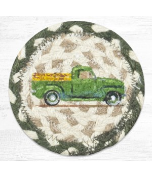 IC-338 Vintage Green Truck Printed Coaster 5 in.x5 in.