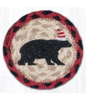 "IC-396 Bear Red Stripe Hat Printed Coaster 5""x5"""