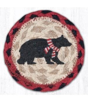 "IC-396 Bear Red Stripe Scarf Printed Coaster 5""x5"""