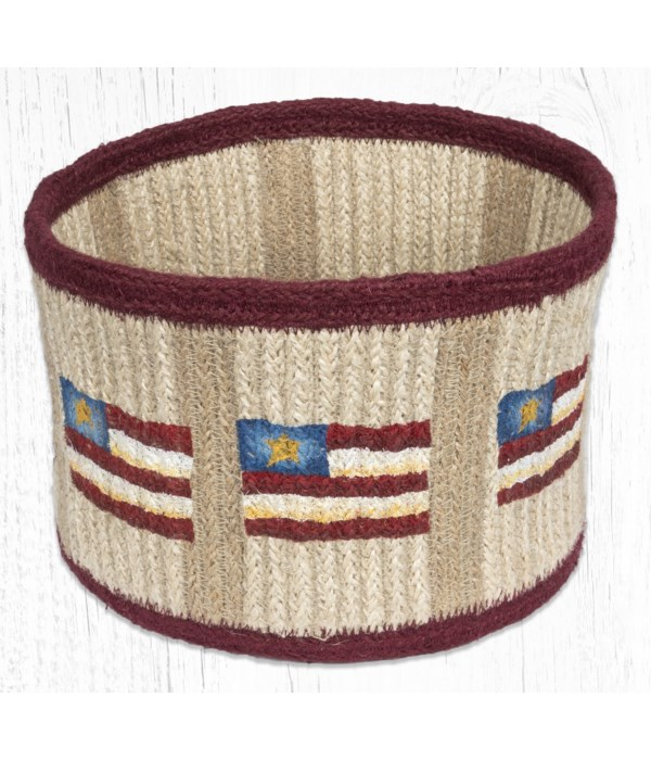 RNB-02 Primitive Star Flag Natural Rope Braided Basket 9 in.x7 in.