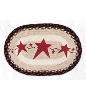 PM-OP-19 Primitive Star Burgundy Oval Placemat 13 in.x19 in.x0.17 in.