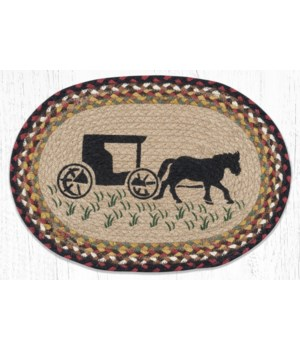 """PM-OP-319 Amish Buggy Oval Placemat 13""""x19"""""""