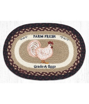 """PM-OP-344 Farmhouse Chicken Oval Placemat 13""""x19"""""""