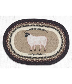 """PM-OP-344 Farmhouse Sheep Oval Placemat 13""""x19"""""""