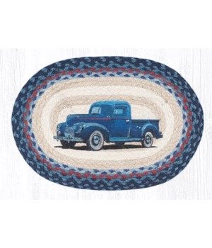 PM-OP-362 Blue Truck Oval Placemat 13 in.x19 in.x0.17 in.