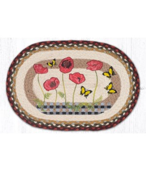 """PM-OP-417 Poppies with Black Check Oval Placemat 13""""x19"""""""