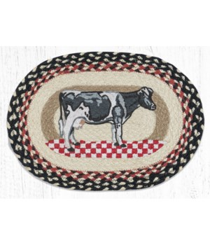 """PM-OP-430 Cow on Checkerboard Oval Placemat 13""""x19"""""""