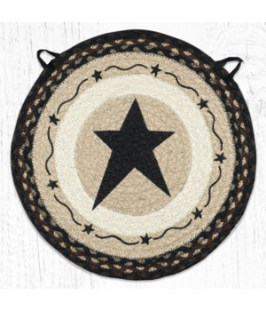 "CH-313 Primitive Star Black Round Chair Pad 15.5""x15.5"""