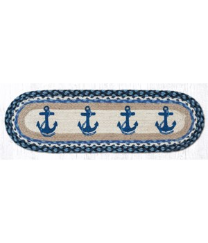 """ST-OP-443 Navy Anchor Oval Stair Tread 27""""x8.25"""""""