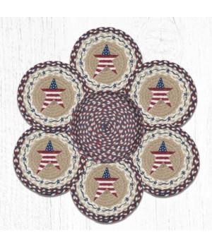 TNB-618 Primitive American Star Trivets in a Basket 10 in.x10 in.