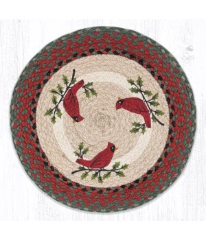 PM-RP-25 Holly Cardinal Printed Round Placemat 15 in.x15 in.x0.17 in.