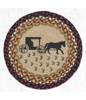 PM-RP-319 Amish Buggy Printed Round Placemat 15 in.x15 in.