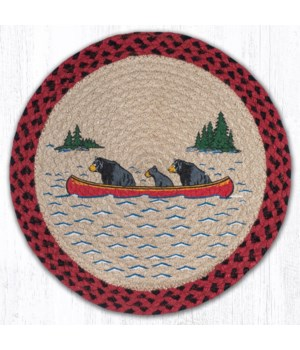 """PM-RP-396 Bears in Canoe Printed Round Placemat 15""""x15"""""""